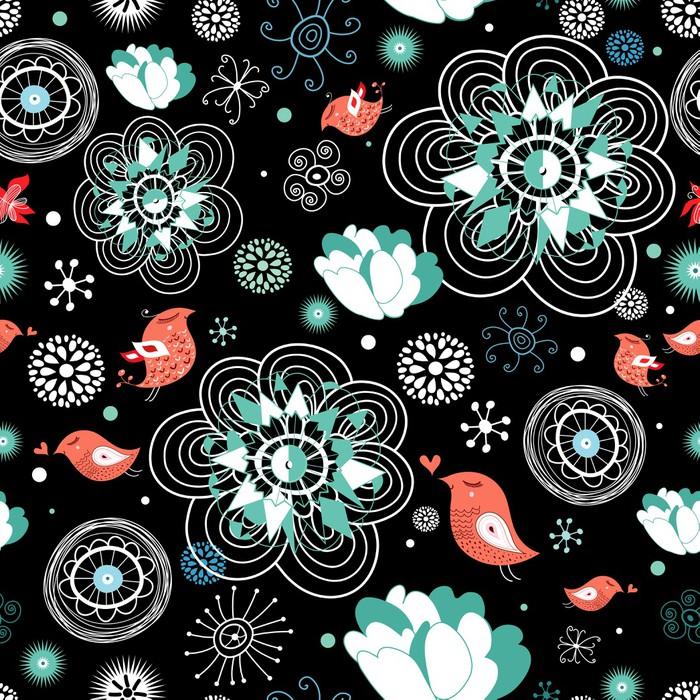 Vinylová Tapeta Květina textury s ptáky - Struktury