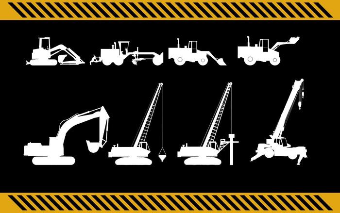 Vinylová fototapeta Sada stavebních strojů zařízení izolovaný - Vinylová fototapeta