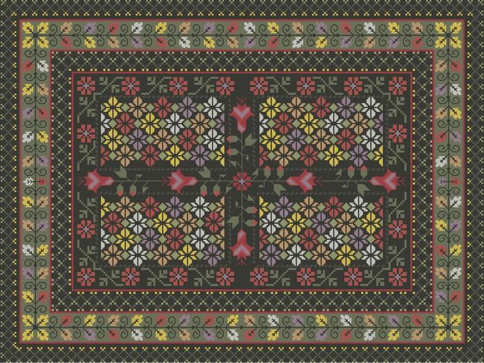 Tableau sur toile conception de tapis fleuri pixers nous vivons pour changer - Toile a canevas pour tapis ...
