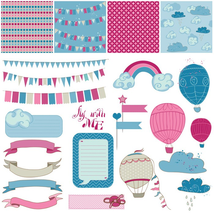 Scrapbook Design Elements Party Balloons And Parachute Wall Mural