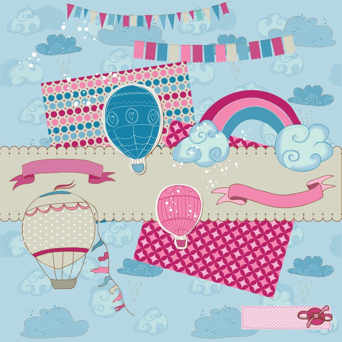 Scrapbook Design Elements Party Balloons And Parachute Sticker