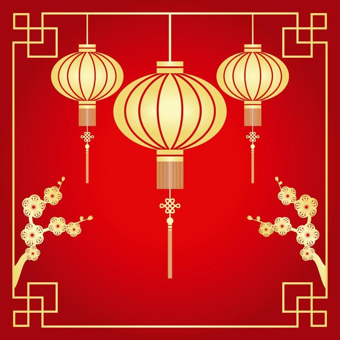 Fototapete Chinese New Year Grusskarte • Pixers® - Wir leben, um zu ...