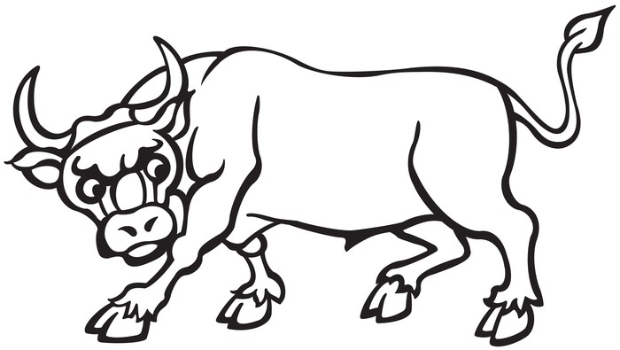 Vinilo Pixerstick De dibujos animados Blanco y Negro Bull • Pixers ...