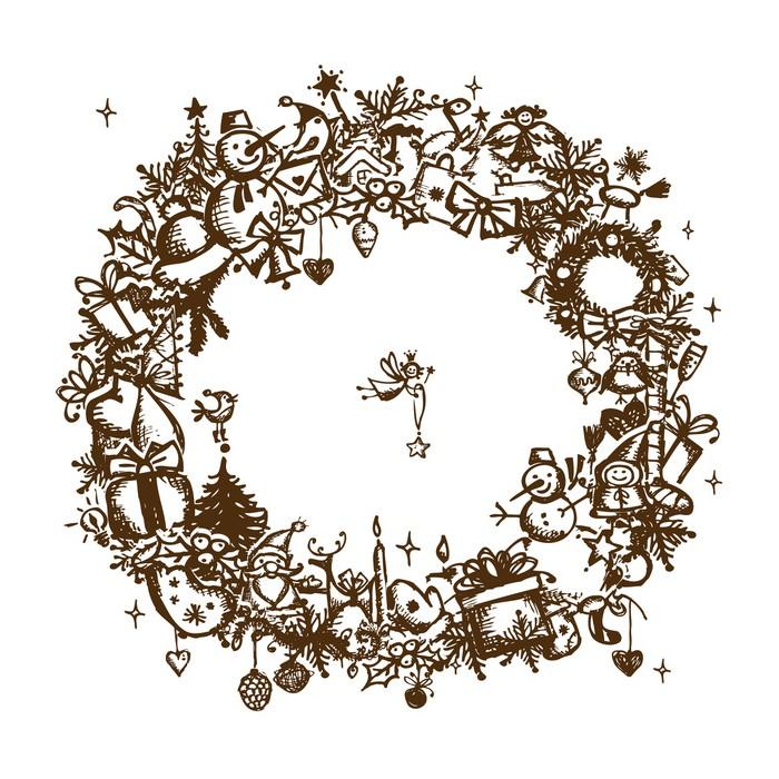 Fototapete Weihnachten Rahmen, Skizze, Zeichnung für Ihre ...