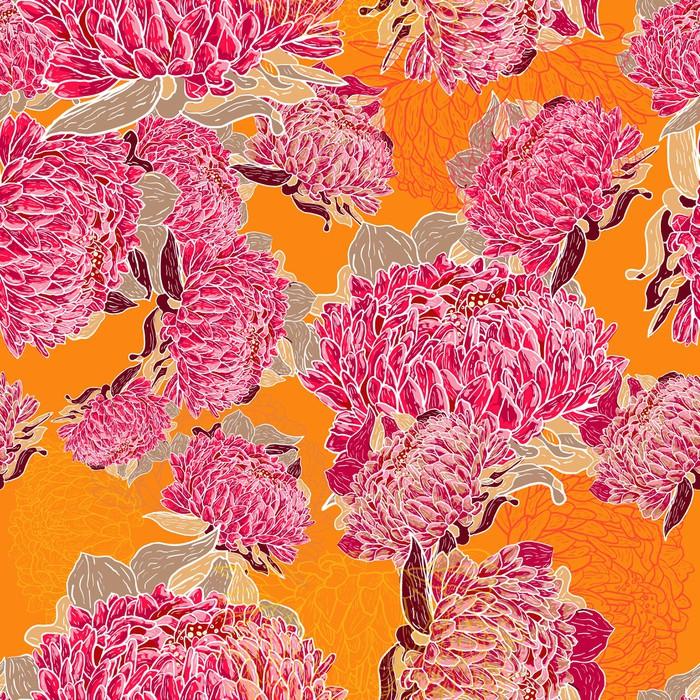 papier peint orange fleurs pixers nous vivons pour. Black Bedroom Furniture Sets. Home Design Ideas