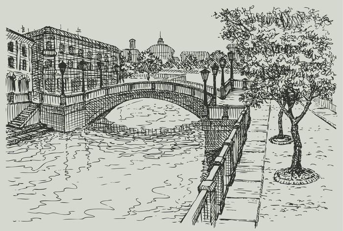 Vinylová Tapeta Vektor panoráma města. Klasické domy a most na řece - Evropa