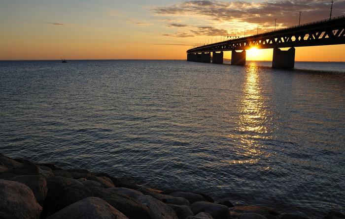 Nálepka Pixerstick Švédská hraniční čára večerní krajina - Infrastruktura