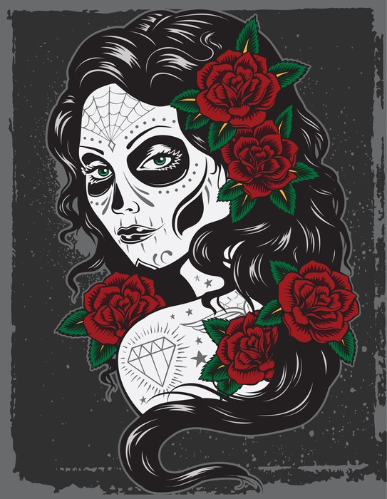 Day of dead girl tattoo illustration wall mural pixers for Day of the dead mural