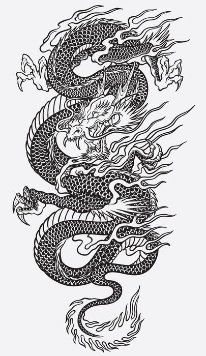 Living Room Line Drawing: Asian Dragon Linework Vector Wall Mural • Pixers® • We