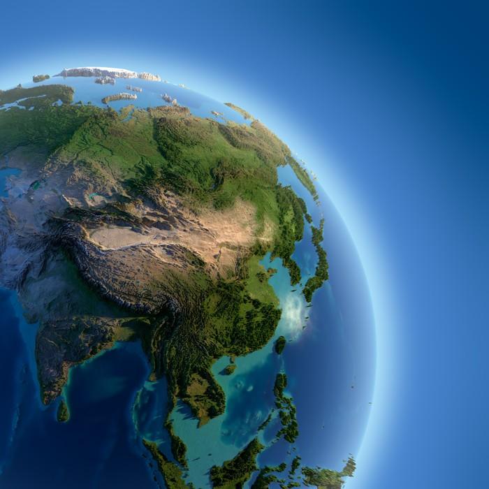 Vinylová Tapeta Země s vysokým úlevou, osvětlena sluncem - Asie