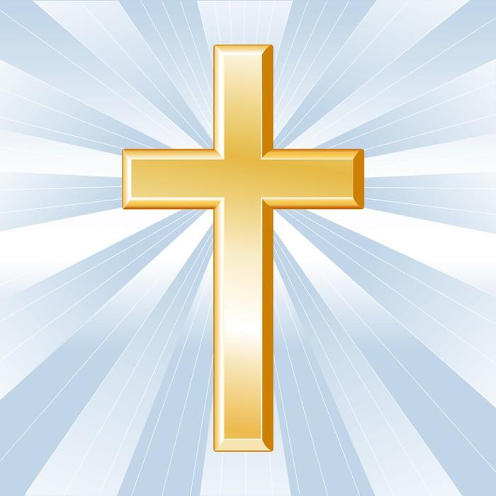 Christianity symbol golden cross crucifix wall mural for Acheter crucifix mural