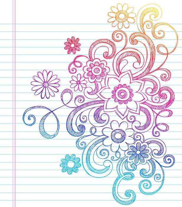flowers sketchy doodles vector design elements wall mural. Black Bedroom Furniture Sets. Home Design Ideas