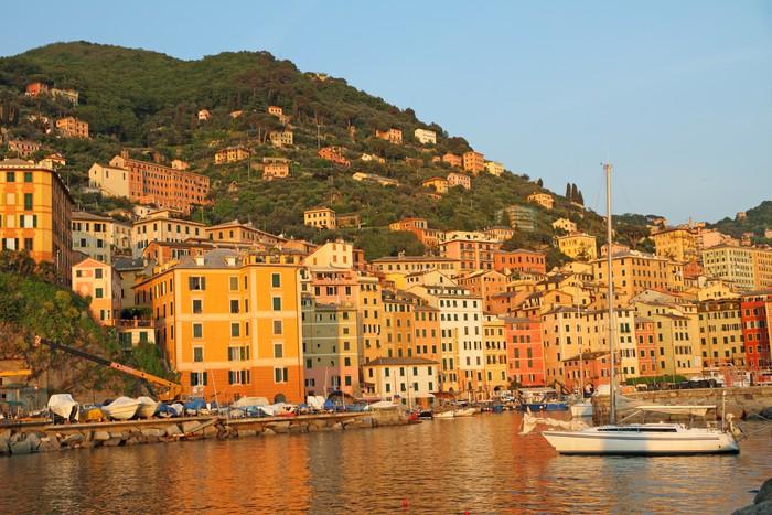 Vinylová Tapeta Ligurian přímořské vesnice Camogli při západu slunce světlo - Evropa