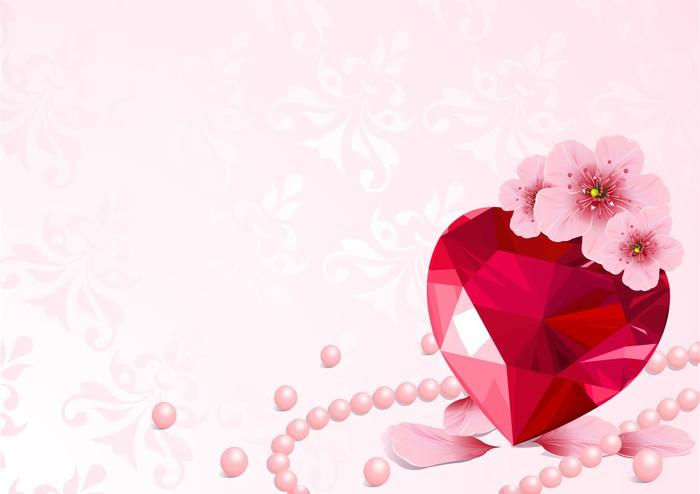 Vinylová Tapeta Láska srdce a třešňového květu - Mezinárodní svátky