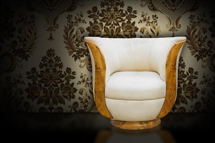Fotobehang vintage fauteuil in leer en damast behang u2022 pixers® we