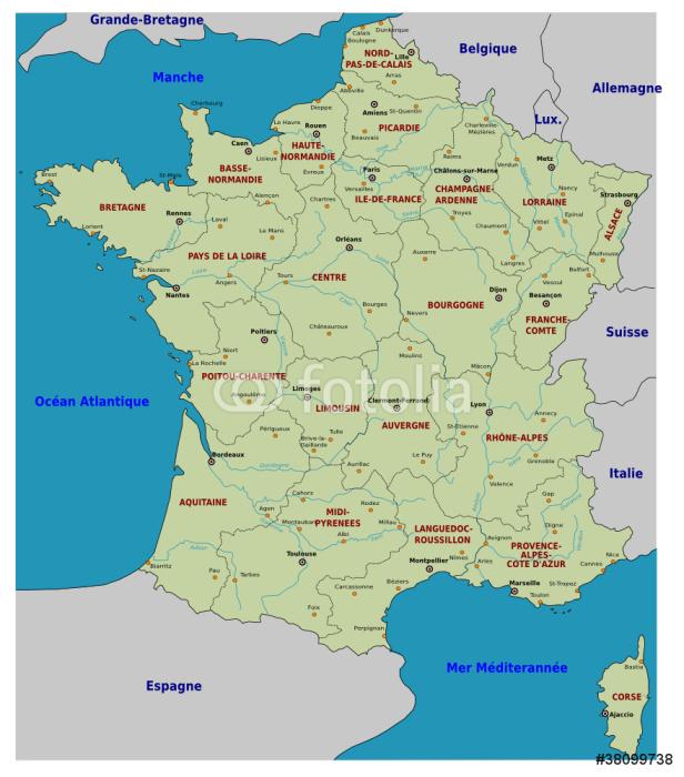 Vinylová Tapeta Mapa Francie - Regiony - Evropa