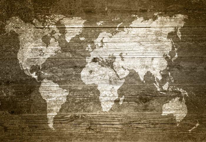 Vinylová Tapeta Grunge Wood - Mapa světa - Témata