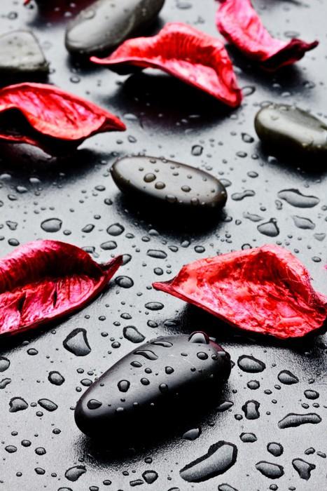 Fototapete pietra nera con gocce d 39 acqua e petali rossi for Finestra con gocce d acqua
