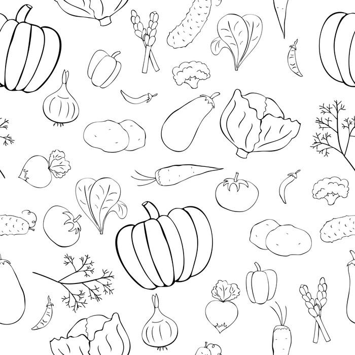 Vinylová Tapeta Bezešvé vzor s grafickými zeleninou - Jídla