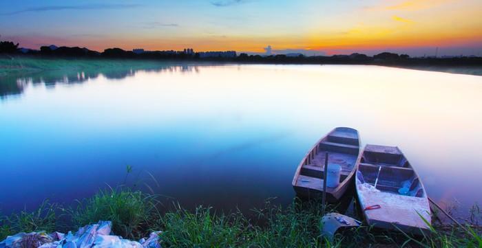 Vinylová Tapeta Západ slunce na rybníku - Příroda a divočina