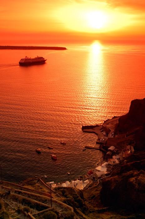 Vinylová Tapeta Jeden z nejznámějších západy slunce v Santorini, Řecko, - Evropa