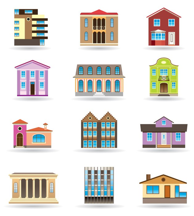 Sticker b timents et des maisons de diff rents styles for Main architectural styles