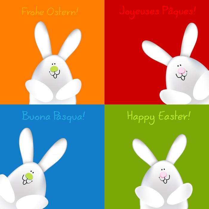 Fototapete Frohe Ostern Hasen Pop-Art DE EN IT FR • Pixers® - Wir ...