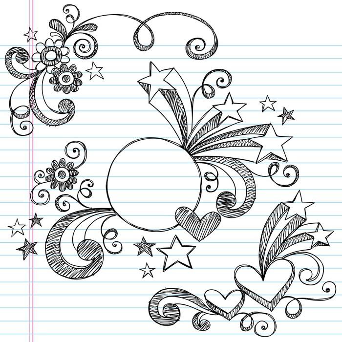 Fototapete Sketchy Doodle Border-Kreis-Rahmen Vektor • Pixers® - Wir ...