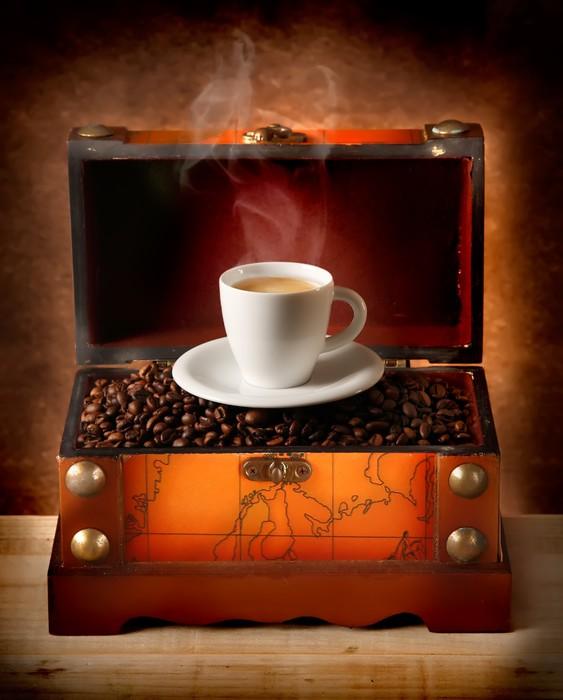 Vinylová fototapeta Scrigno con tazzina di caffè - Vinylová fototapeta