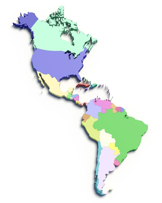 3d color map of south and north american countries Wall Mural ...