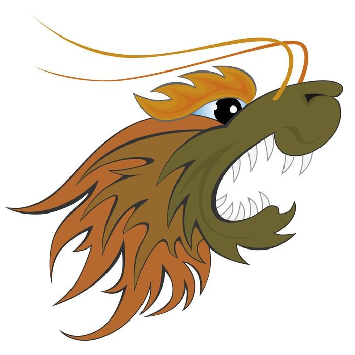 Nálepka Pixerstick Dragon Head - Imaginární zvířata