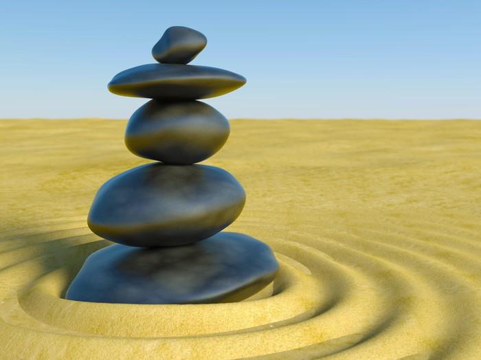 Vinylová Tapeta 3d Zen kameny v zen písku - Náboženství