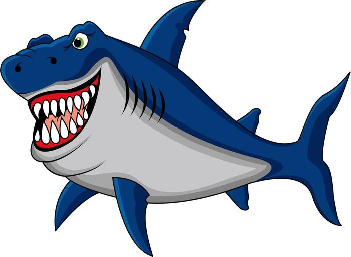 Carta da parati squalo divertente cartone animato pixers