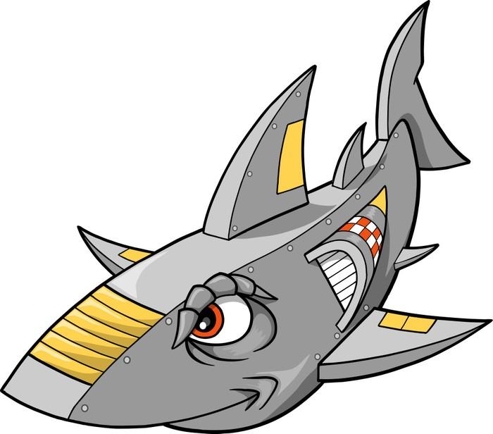 Vinylová fototapeta Robot Cyborg Žralok vektorové ilustrace - Vinylová fototapeta