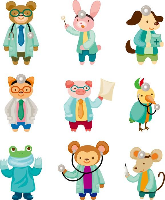 Cartoon Animal Doctor Wall Mural   Vinyl   Mammals