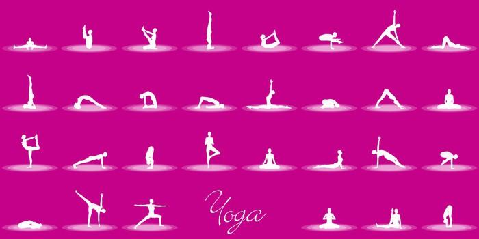 Vinylová Tapeta Yoga Posen Set - Magenta Weiß - Značky a symboly
