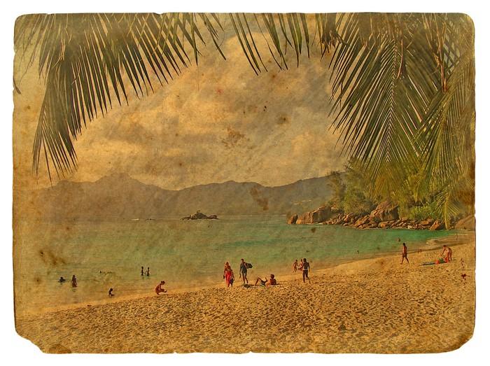 Vinylová Tapeta Tropické krajiny, Seychely. Staré pohlednice. - Prázdniny