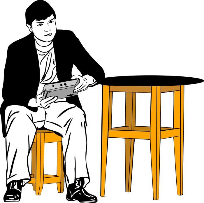 Szkic faceta siedzącego na stołku przy stole