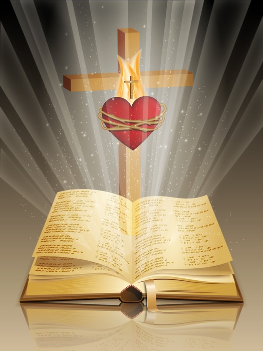 holy bible with cross and sacred heart wall mural pixers we