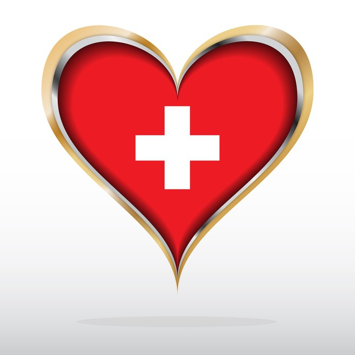 Vector Illustration Of Switzerland Flag In Golden Heart Wall Mural