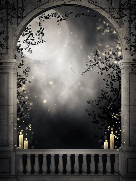 Fototapete dunkle balkon mit kerzen o pixersr wir leben for Markise balkon mit tapete gothic