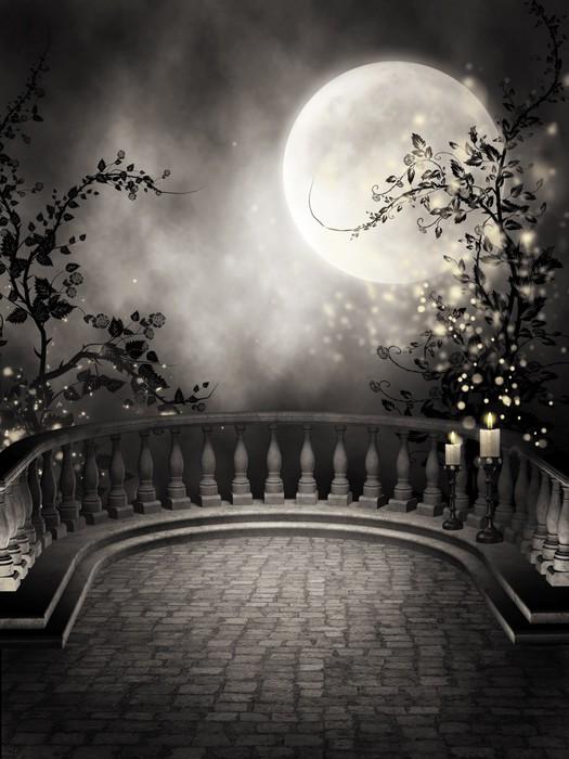 Fototapete gothic balkon mit kerzen und dem mond o pixers for Markise balkon mit tapete gothic