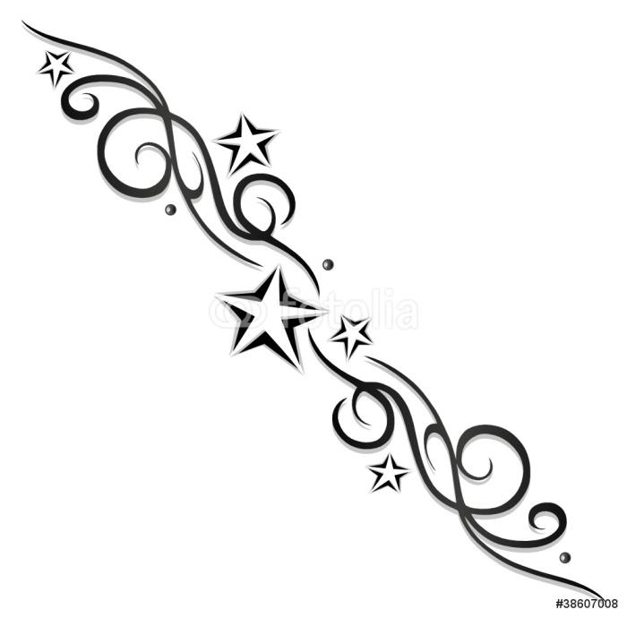 Vinylová Tapeta Tattoo, Tribal, Sterne, hvězdy, Logo, black & šedá - Značky a symboly