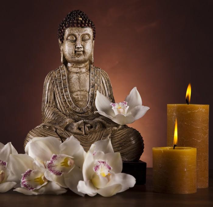 fototapete buddha mit kerze pixers wir leben um zu ver ndern. Black Bedroom Furniture Sets. Home Design Ideas