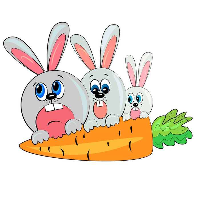 bunny family cartoon rabbit eating carrot poster pixers we live