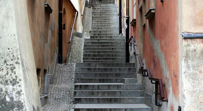 A Narrow Alley And Stairway In Warsaw Vinyl Wall Mural   Monuments