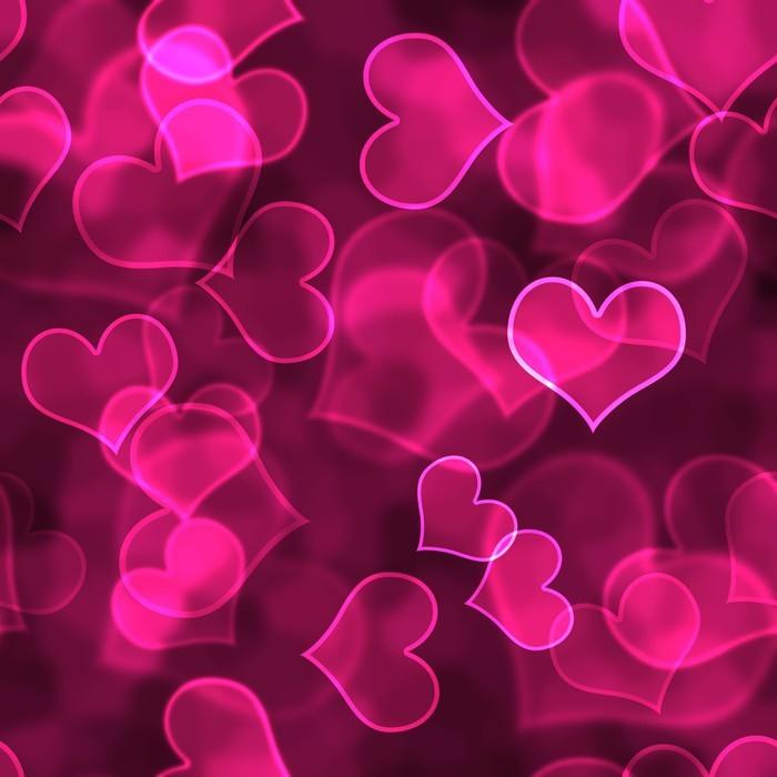 Nálepka Pixerstick Hot Pink Bokeh Hearts pozadí na plochu - Mezinárodní svátky