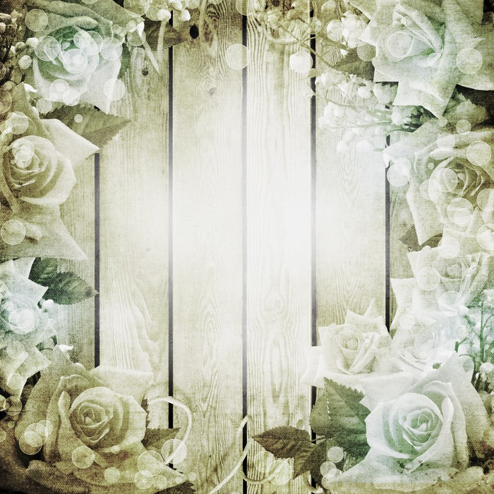 Wedding Vintage Romantic Background With Roses Sticker Pixers