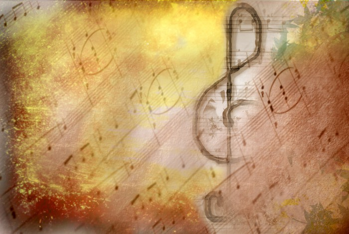 grunge treble clef musical poster Wall Mural • Pixers® • We live to ...