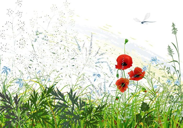 Papier Peint Vinyle Paysage avec de l'herbe et des fleurs sauvages et libellule volante - Campagne